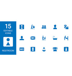 15 restroom icons vector