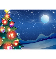 A christmas tree with bright balls vector image