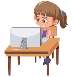 A girl playing computer vector
