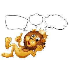 A lion with a crown thinking vector