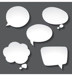 Abstract white paper speech bubbles on gray vector image