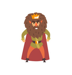 Angry bearded king character cartoon vector