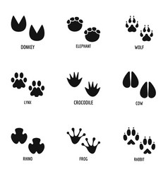 animal foot icons set simple style vector image