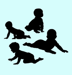 Babies action and activity silhouette vector