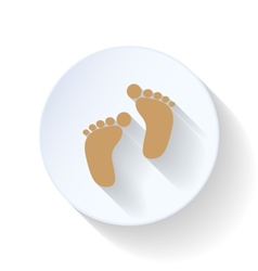 Baby footprints flat icon vector