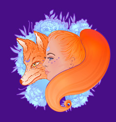 Beautiful woman portrait with a fox and flowers vector