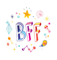 Bff best friends forever vector