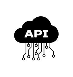 Black cloud api interface icon isolated vector