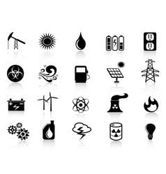 Black energy icons set vector