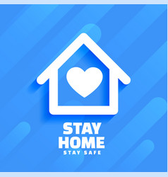 Blue stay home and safe background design vector