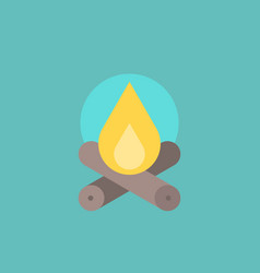 bonfire camping icon flat design vector image