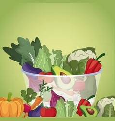 Bowl vegetables menu fresh ingredients vector