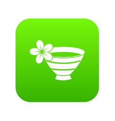 Bowl with water for spa icon digital green vector