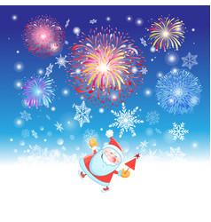 bright christmas card with santa claus vector image
