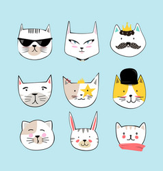 cartoon cat faces set hand drawn style vector image