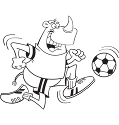 Cartoon Rhino Playing Soccer vector