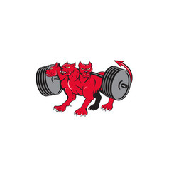 cerberus multi-headed dog hellhound powerlifting vector image