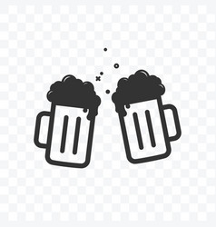 Cheers beer toast icon on transparent background vector