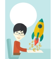 Chinese guy is happy to start up a new business vector image