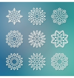 Christmas flat line snowflakes vector