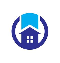 Circle home sign logo vector