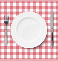 Close up view empty white dish vector