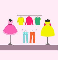 Clothing store women items vector