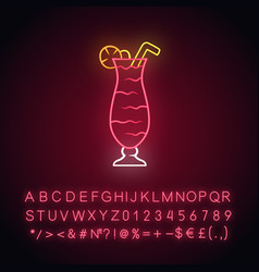 Cocktail in hurricane glass neon light icon vector