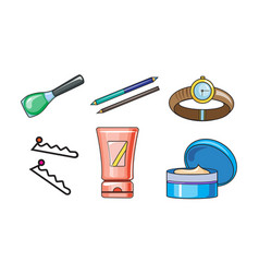collection of woman cosmetics and accessories vector image