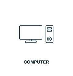 computer icon thin style design from household vector image