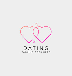 Dating love line logo template icon element vector