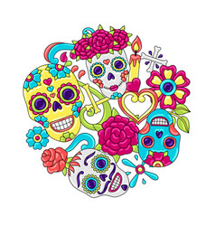Day dead invitation card sugar skulls vector