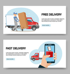 delivery service free and fast background set of vector image