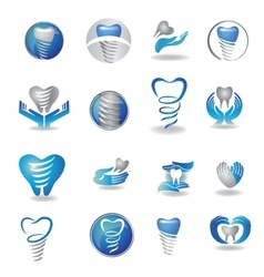 Dental implants symbol collection clean and bright vector