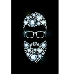 Diamond Bearded Man with Glasses vector