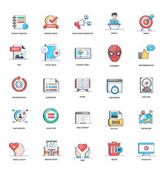 Digital marketing flat icons pack vector