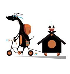 Dog a traveler vector