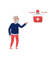 Drone quadrocopter delivering medicine to a vector