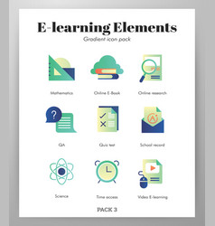 e-learning icons gradient pack vector image