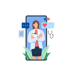 female doctor on screen smartphone holding vector image