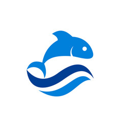 fish waves blue logo icon vector image
