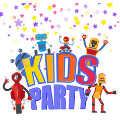 Flat funny robots kids party background vector