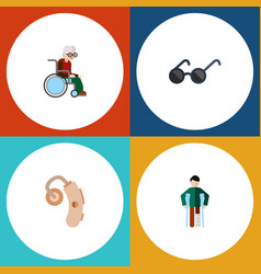 Flat icon handicapped set injured audiology vector