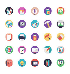 Flat icon set art and design vector