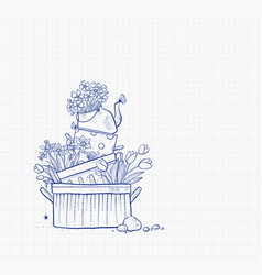 flower bed made old cooking pots and kettle vector image