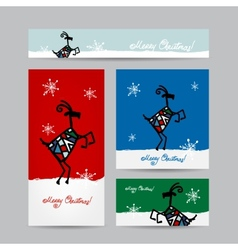 Funny goat santa Christmas cards design vector image