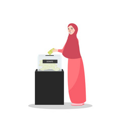 girl put money into donation box islam muslim vector image