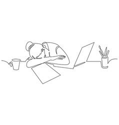 Girl sleeping on desk continuous one line drawing vector