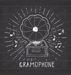 gramophone vintage label hand drawn sketch grunge vector image