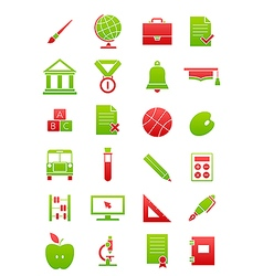 Green red school icons set vector